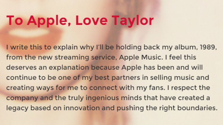 Apple cambia sus politicas de pago gracias a una carta que les envio taylor swift