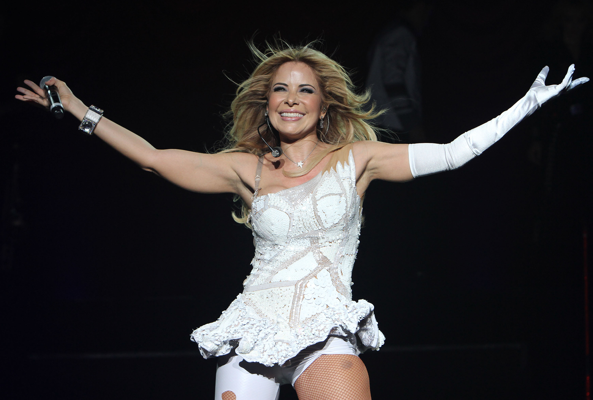 MIAMI BEACH, FL - APRIL 14: Gloria Trevi performs at Fillmore Miami Beach on April 14, 2012 in Miami Beach, Florida. (Photo by Alexander Tamargo/Getty Images)